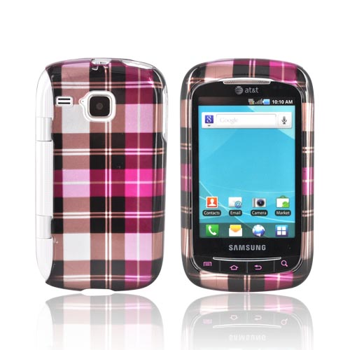Samsung DoubleTime Hard Case - Plaid Pattern of Hot Pink, Pink, Silver, & Brown