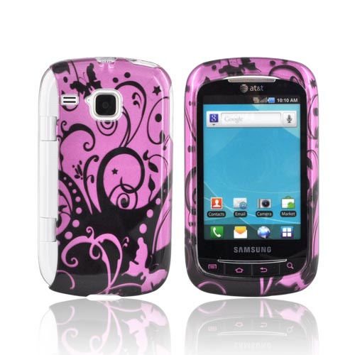 Samsung DoubleTime Hard Case - Black Swirl Designs on Purple