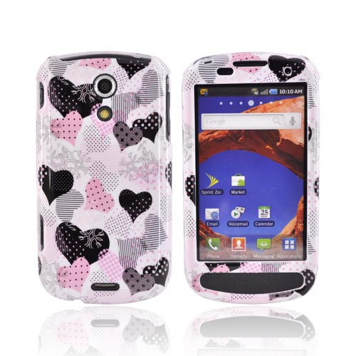 Samsung Epic 4G Hard Case - Pink/Black Hearts on White