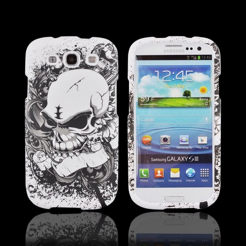 Samsung Galaxy S3 Hard Case - Angry White Skull on Black