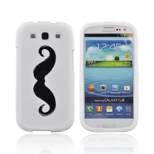 Samsung Galaxy S3 Hard Case - Black Handlebar Mustache on White