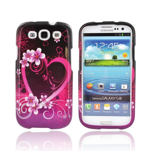 Samsung Galaxy S3 Hard Case - Hot Pink/ Purple Flowers and Hearts