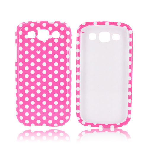 Samsung Galaxy S3 Hard Case - White Polka Dots on Hot Pink