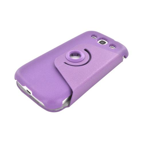 Samsung Galaxy S3 Hard Case w/ Flip Cover & Rotatable Shield Stand - Purple