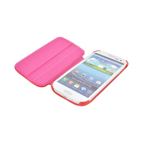 Samsung Galaxy S3 Hard Case w/ Flip Cover & Rotatable Shield Stand - Red