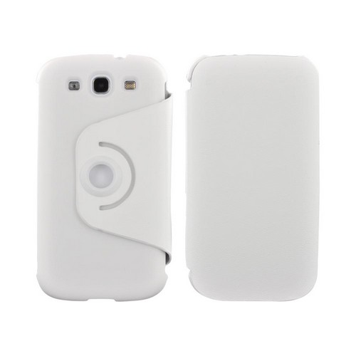 Samsung Galaxy S3 Hard Case w/ Flip Cover & Rotatable Shield Stand - White