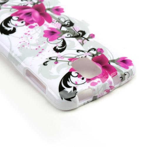 Magenta Flowers & Black Vines on White Hard Case for Samsung Galaxy S4 Active