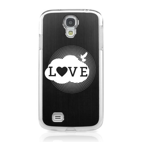 Love Cloud - Geeks Designer Line Laser Series Black Aluminum on Clear Case for Samsung Galaxy S4