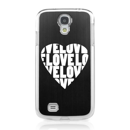 Love Heart - Geeks Designer Line Laser Series Black Aluminum on Clear Case for Samsung Galaxy S4