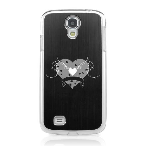 Heart Swirls - Geeks Designer Line Laser Series Black Aluminum on Clear Case for Samsung Galaxy S4