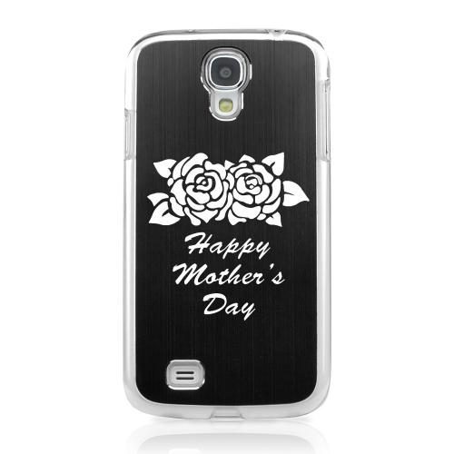 Flower Mother Day - Geeks Designer Line Laser Series Black Aluminum on Clear Case for Samsung Galaxy S4