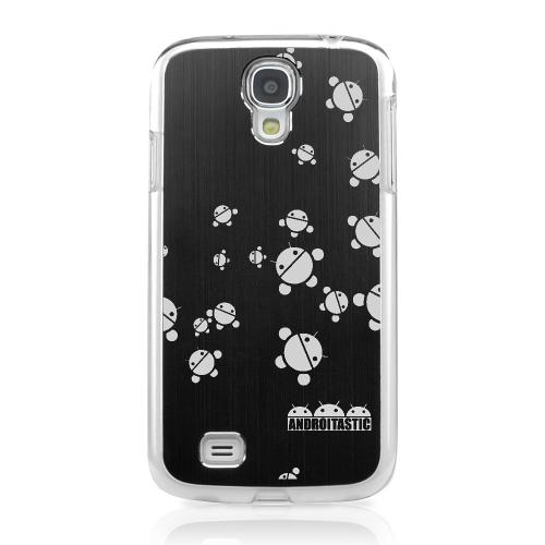 Bubble Bot Invasion - Geeks Designer Line Laser Series Black Aluminum on Clear Case for Samsung Galaxy S4