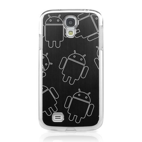 Androitastic - Geeks Designer Line Laser Series Black Aluminum on Clear Case for Samsung Galaxy S4