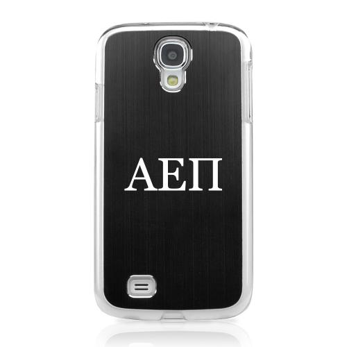 Alpha Epsilon Pi - Geeks Designer Line Laser Series Black Aluminum on Clear Case for Samsung Galaxy S4