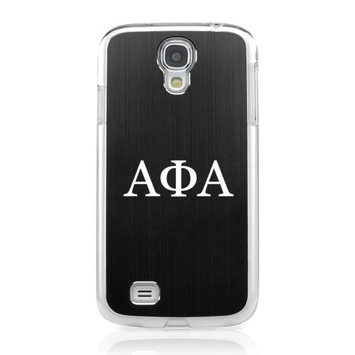 Alpha Phi Alpha - Geeks Designer Line Laser Series Black Aluminum on Clear Case for Samsung Galaxy S4
