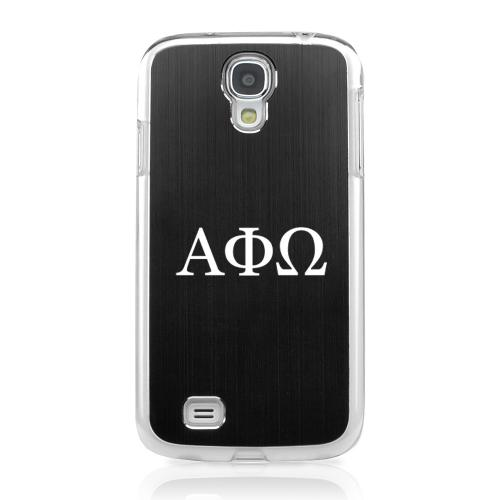 Alpha Phi Omega - Geeks Designer Line Laser Series Black Aluminum on Clear Case for Samsung Galaxy S4
