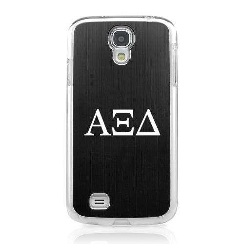 Alpha Xi Delta - Geeks Designer Line Laser Series Black Aluminum on Clear Case for Samsung Galaxy S4
