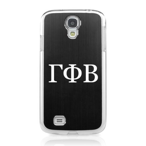 Gamma Phi Beta - Geeks Designer Line Laser Series Black Aluminum on Clear Case for Samsung Galaxy S4