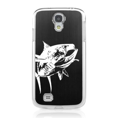 Yellowfin - Geeks Designer Line Laser Series Black Aluminum on Clear Case for Samsung Galaxy S4