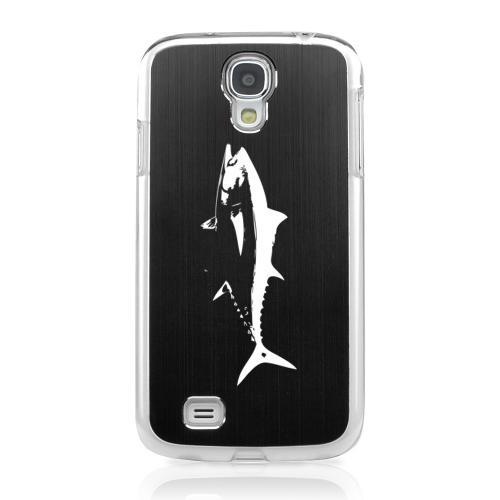 Tuna - Geeks Designer Line Laser Series Black Aluminum on Clear Case for Samsung Galaxy S4