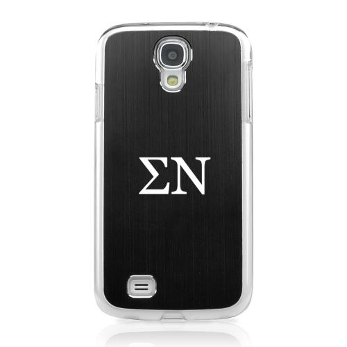Sigma Nu - Geeks Designer Line Laser Series Black Aluminum on Clear Case for Samsung Galaxy S4