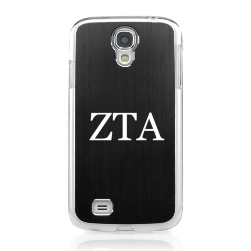 Zeta Tau Alpha - Geeks Designer Line Laser Series Black Aluminum on Clear Case for Samsung Galaxy S4