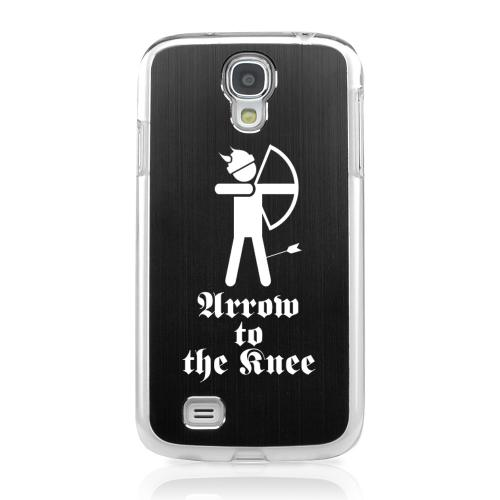 Arrow to the Knee - Geeks Designer Line Laser Series Black Aluminum on Clear Case for Samsung Galaxy S4