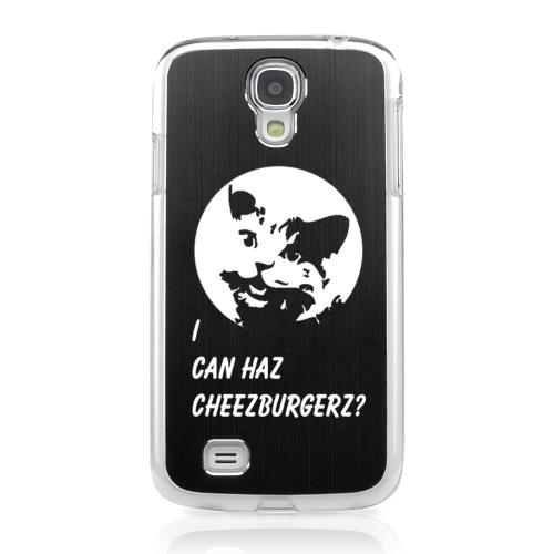 I Can Haz Cheezburgerz? - Geeks Designer Line Laser Series Black Aluminum on Clear Case for Samsung Galaxy S4