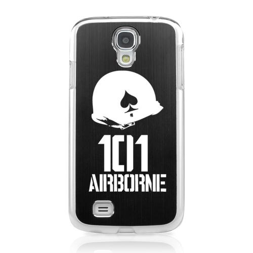 101st Airborne - Geeks Designer Line Laser Series Black Aluminum on Clear Case for Samsung Galaxy S4