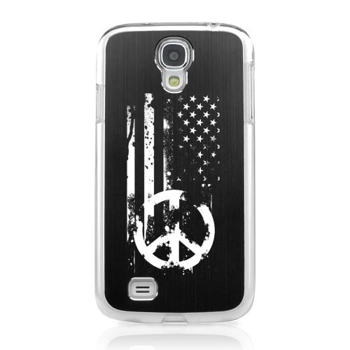 Grunge Flag - Geeks Designer Line Laser Series Black Aluminum on Clear Case for Samsung Galaxy S4