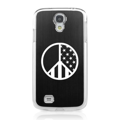 U.S. Peace Sign - Geeks Designer Line Laser Series Black Aluminum on Clear Case for Samsung Galaxy S4