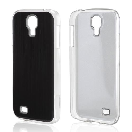 Black Aluminum Back on Clear Hard Case for Samsung Galaxy S4
