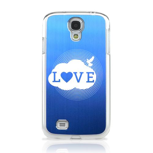 Love Cloud - Geeks Designer Line Laser Series Blue Aluminum on Clear Case for Samsung Galaxy S4