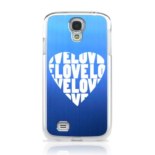 Love Heart - Geeks Designer Line Laser Series Blue Aluminum on Clear Case for Samsung Galaxy S4