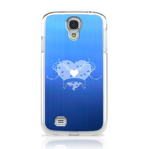 Heart Swirls - Geeks Designer Line Laser Series Blue Aluminum on Clear Case for Samsung Galaxy S4