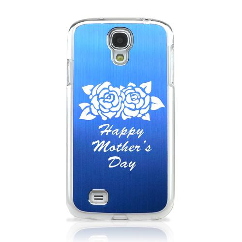 Flower Mother Day - Geeks Designer Line Laser Series Blue Aluminum on Clear Case for Samsung Galaxy S4
