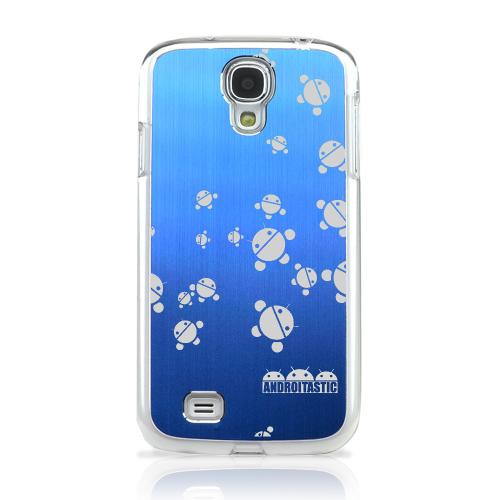 Bubble Bot Invasion - Geeks Designer Line Laser Series Blue Aluminum on Clear Case for Samsung Galaxy S4