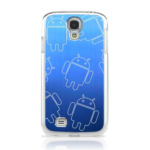 Androitastic - Geeks Designer Line Laser Series Blue Aluminum on Clear Case for Samsung Galaxy S4