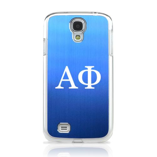 Alpha Phi - Geeks Designer Line Laser Series Blue Aluminum on Clear Case for Samsung Galaxy S4