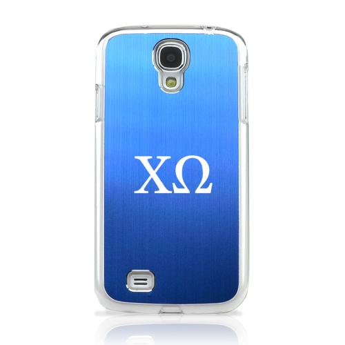 Chi Omega - Geeks Designer Line Laser Series Blue Aluminum on Clear Case for Samsung Galaxy S4