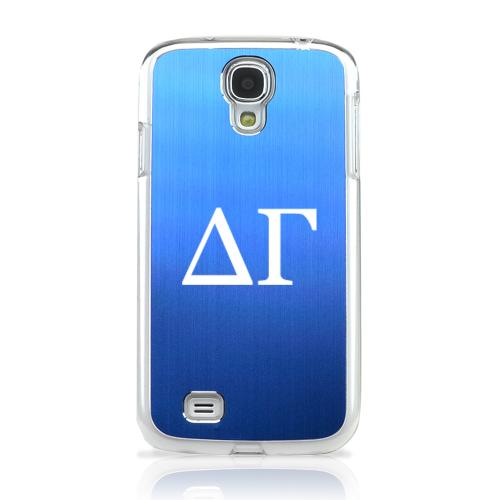 Delta Gamma - Geeks Designer Line Laser Series Blue Aluminum on Clear Case for Samsung Galaxy S4