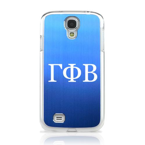 Gamma Phi Beta - Geeks Designer Line Laser Series Blue Aluminum on Clear Case for Samsung Galaxy S4