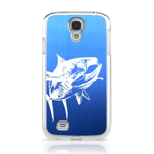 Yellowfin - Geeks Designer Line Laser Series Blue Aluminum on Clear Case for Samsung Galaxy S4