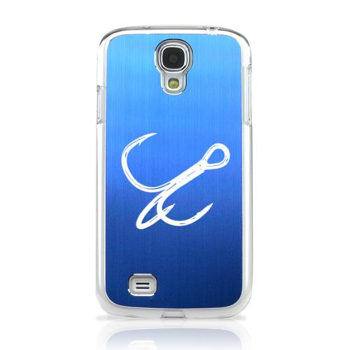Fish Hook - Geeks Designer Line Laser Series Blue Aluminum on Clear Case for Samsung Galaxy S4