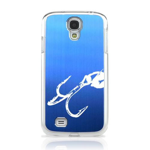 Fish Hook 2.0 - Geeks Designer Line Laser Series Blue Aluminum on Clear Case for Samsung Galaxy S4
