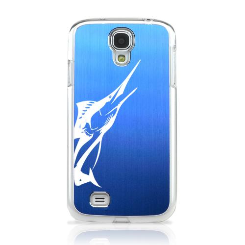 Marlin - Geeks Designer Line Laser Series Blue Aluminum on Clear Case for Samsung Galaxy S4