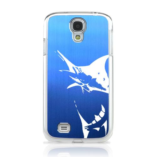 Marlin 2.0 - Geeks Designer Line Laser Series Blue Aluminum on Clear Case for Samsung Galaxy S4