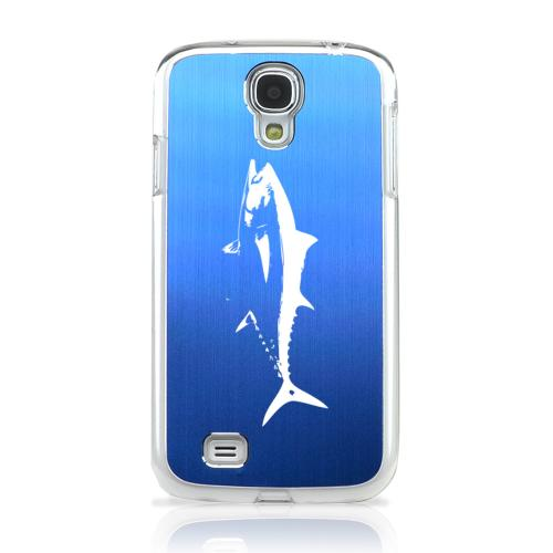 Tuna - Geeks Designer Line Laser Series Blue Aluminum on Clear Case for Samsung Galaxy S4