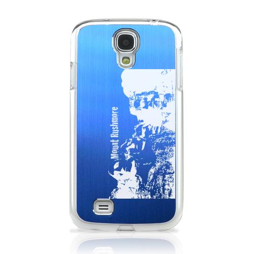 Mount Rushmore - Geeks Designer Line Laser Series Blue Aluminum on Clear Case for Samsung Galaxy S4