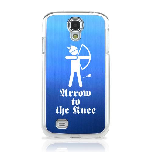 Arrow to the Knee - Geeks Designer Line Laser Series Blue Aluminum on Clear Case for Samsung Galaxy S4